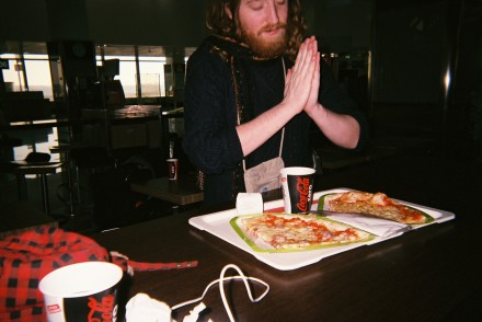 This is the first slice of pizza I had on the tour, in the airport in Milan. We were running on zero sleep, having been detained and then rushing to the airport, barely making our flight out of Moscow. Ricky and I found a pizza place that was open at 10 AM and ate like kings.